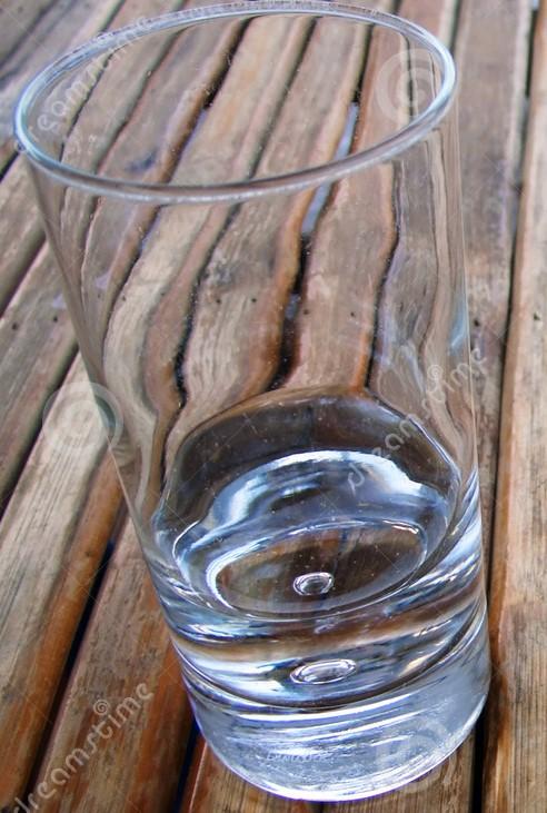 neally empty glass -