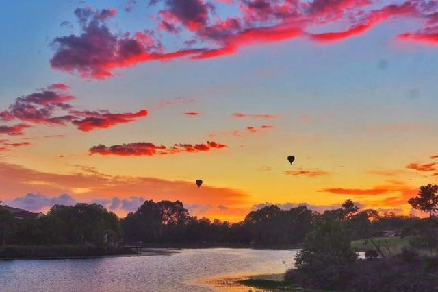 ballooning at sunrise, Bundall Qld.